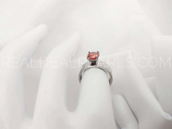 Sz 10 Stainless Steel Prong-Set Round Circle Solitaire Engagement Wedding Band Ring w/ Light Siam Red CZ*ZRC275- 10