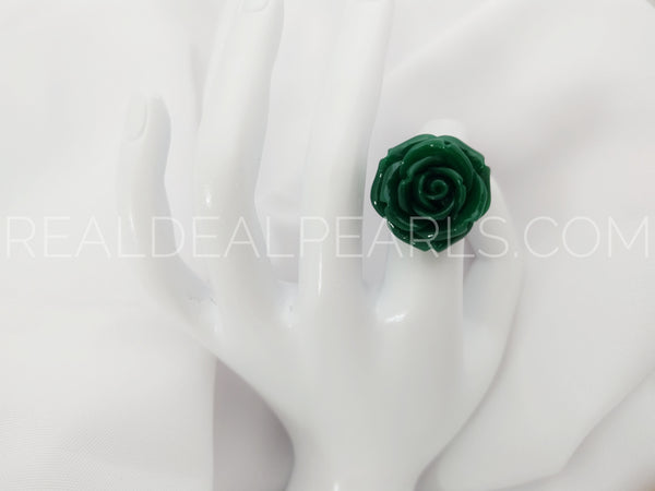Steel Size 7 Green Rose Ring