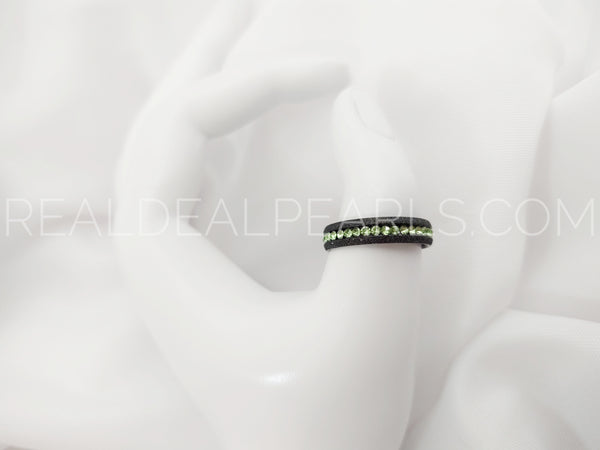 Sz 11 5mm | Black Stainless Steel Sandblasted Channel-Set Eternity Engagement Wedding Band Ring w/ Peridot CZ*TRM095- 11