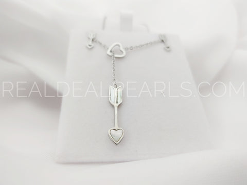 Stainless Steel Heart Arrow Charm Link Chain Y Necklace & Pair of Stud Earrings w/ Shell Inlay (SET)*SSO224