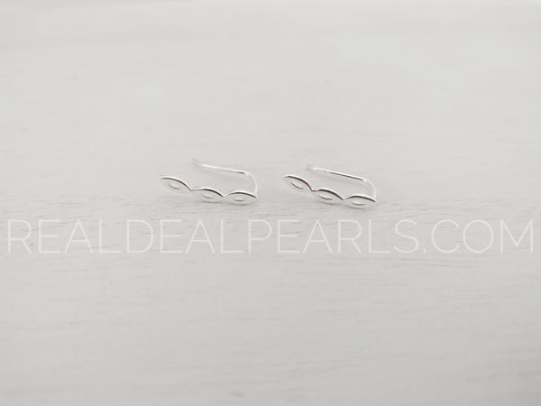 Sterling Silver Earrings 3.1x17.7mm Marquise Ear Climber e, 18ga Earwire