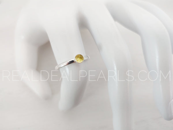 Sterling Silver 2mm November Bezel Set Ring, 4mm Citrine CZ, Size 7