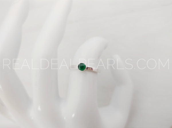 Sterling Silver 2mm May Bezel Set Ring, 4mm Emerald CZ, Size 7