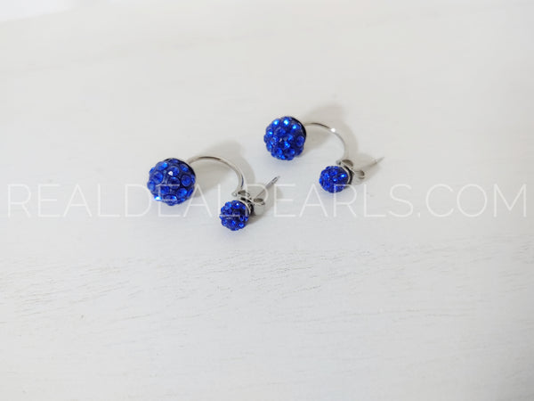 6mm&10mm Argil Disco Shamballa Balls w/ Capri Blue CZ | Stainless Steel Double Side Stud Earrings (pair)*EEZ123