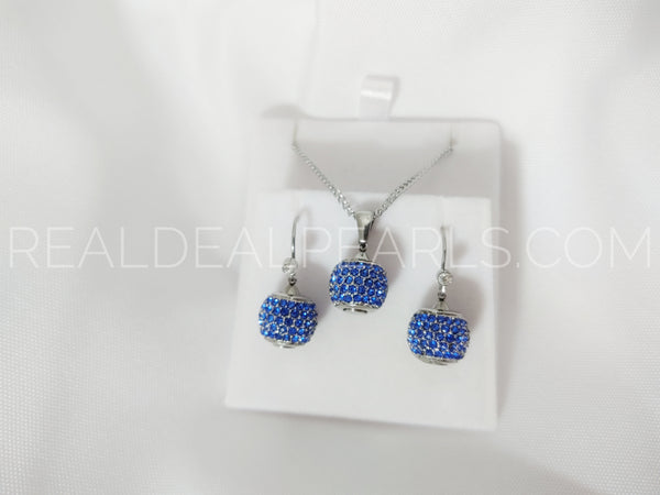 Stainless Steel Micro Pave Bead Ball Charm Pendant Necklace & Pair of Long Drop Hook Earrings w/ Clear & Capri Blue CZ (SET)*SSW058