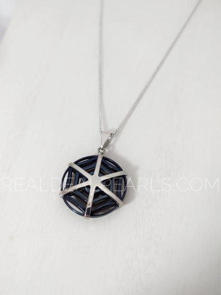 Steel Two Toned Spider Web Pendant Necklace