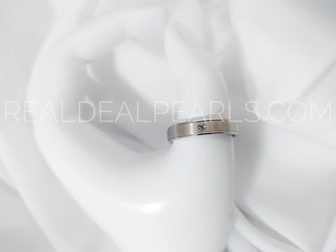 Sz 11.5 5mm | Stainless Steel Matte Finished Half-Round Band Ring w/ Clear CZ*RRR264- 11.5