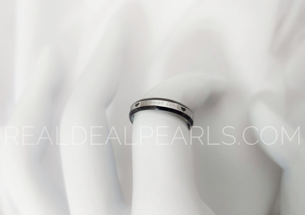 Sz 4 3.5mm | Stainless Steel 2-tone Forever Love Heart Step Edge Comfort Fit Half-Round Band Ring*RRR488- 4