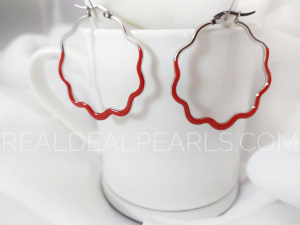 Steel Ruffle Red Earrings Small