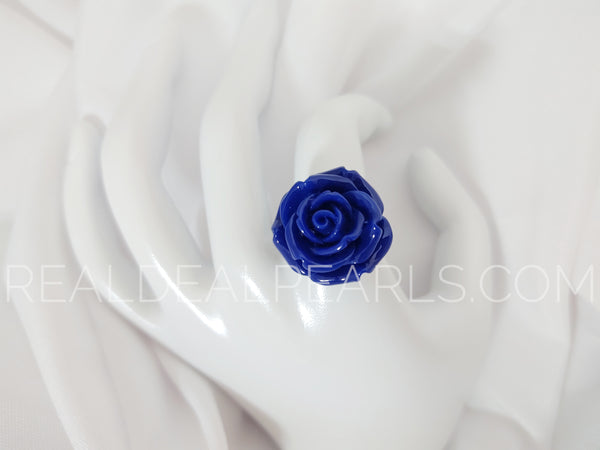 Steel Dark Blue Flower Ring Size 9