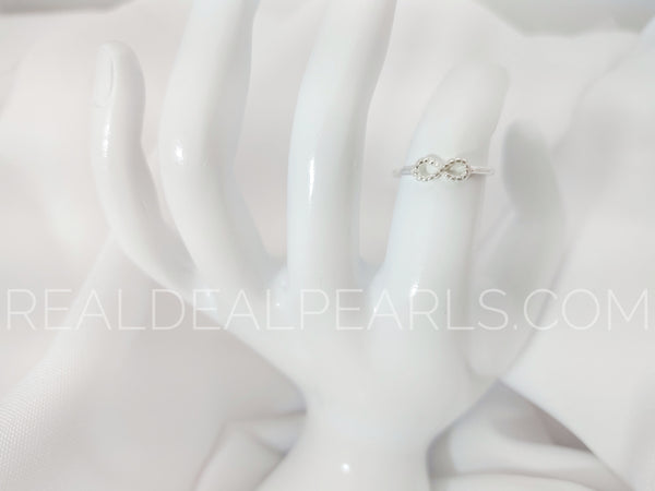 Sz 7 Sterling Silver Beaded Infinity Ring
