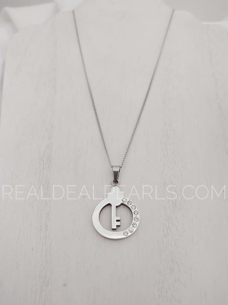 Steel CZ Key Pendant Necklace