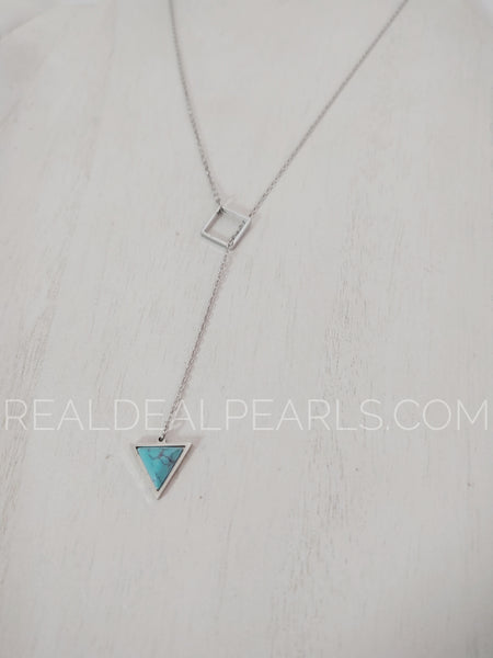 Stainless Steel Interlocking Square Triangle Charm & 5cm Extender Chain Necklace w/ Turquoise Stone*MPV339