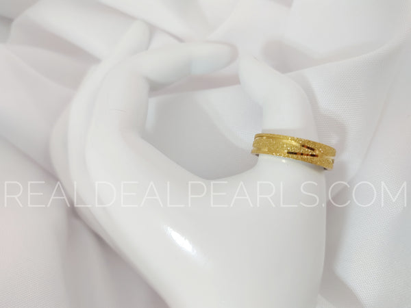 Steel Gold Tone Sandblasted Ring Size 13.5