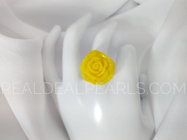 Steel Yellow Rose Ring Sz 6, 7, or 8