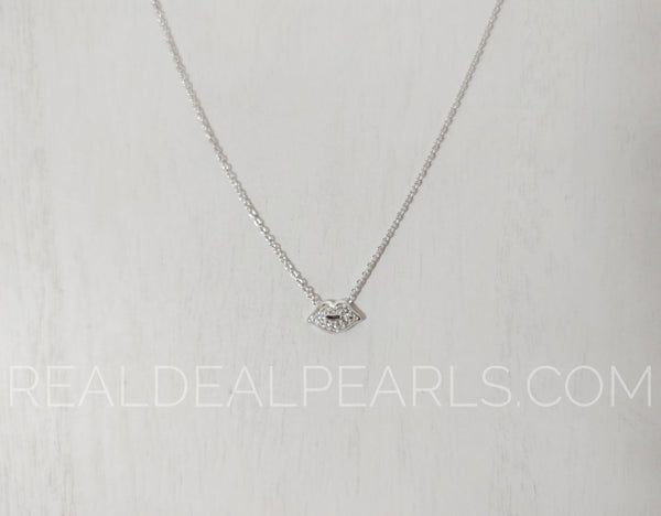 Sterling Silver CZ Lips Necklace 16""