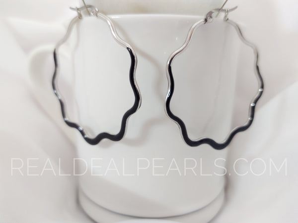 Steel Black Ruffle Earrings