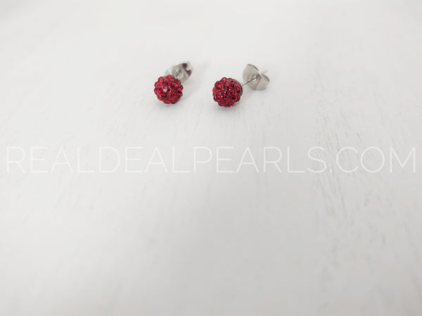 Steel Deep Red Disco Stud Earrings