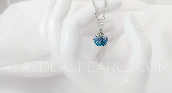 12mm | Stainless Steel Argil Disco Ball Shamballa Charm Chain Necklace w/ Clear & Aquamarine CZ*WPA098