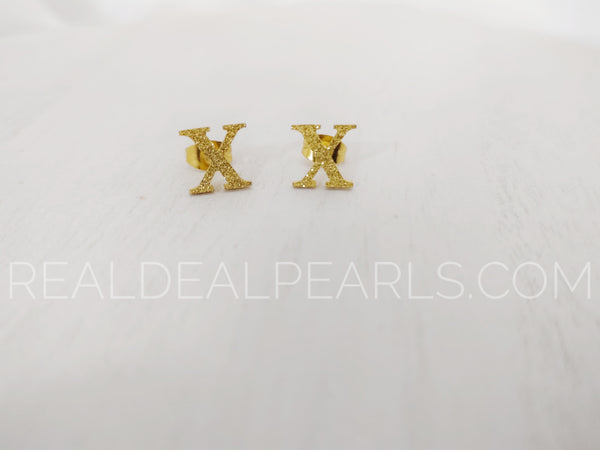Steel with Gold Tone Sandblasted X Stud Earrings