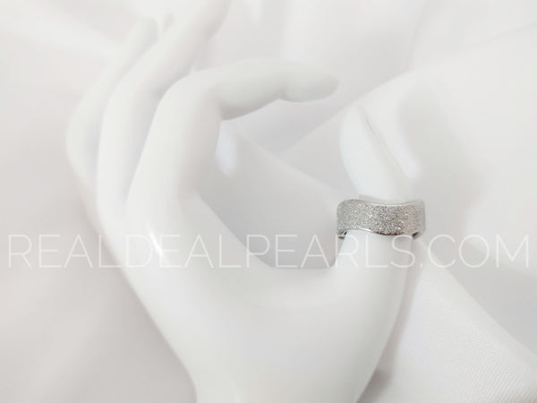 Sz 12 8mm | Stainless Steel Sandblasted Classic Wave Band Ring*LRC524- 12