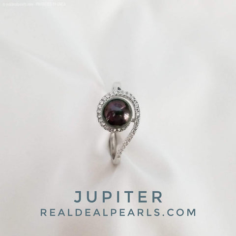Jupiter | Sterling Silver CZ Ring with Cultured Tahitian