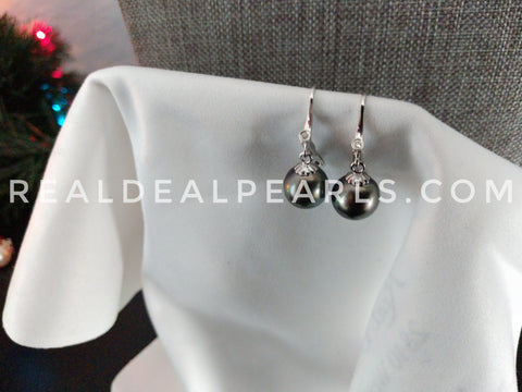 One of a Kind | 14K White Gold Diamond Cultured Tahitian Pearl Leverback Earrings
