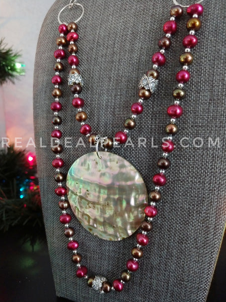 One of a Kind Layered Pearl Necklace with Abalone