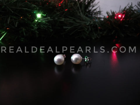 14K White Gold Cultured South Sea Pearl Stud Earrings