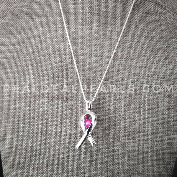 Hope Ribbon Sterling Silver Cage Necklace