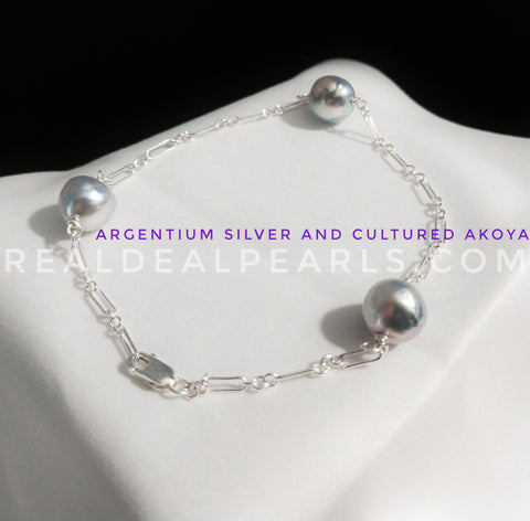 Eternity | Argentium Silver and Cultured Akoya Bracelet