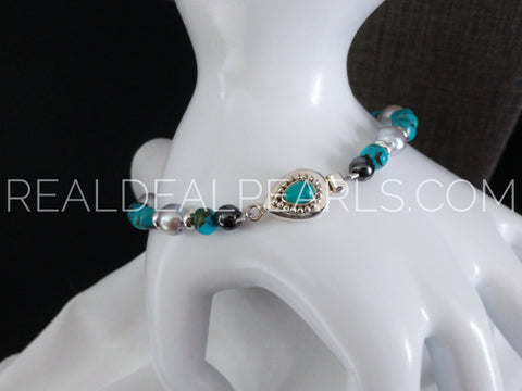 "8.5"" Turquoise and Cultured Akoya Bracelet"