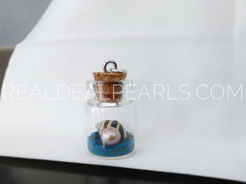 Cultured Freshwater Pearl Ocean Floor Bottle Charm