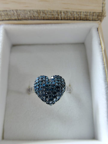 Blue and White Diamond Ring Size 8 Sterling Silver