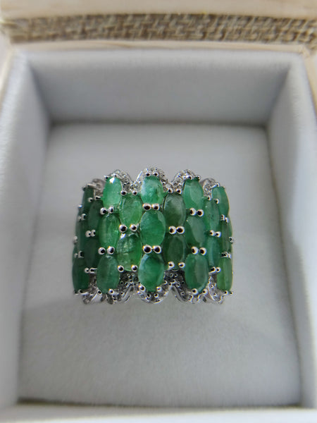 Sakota Emerald and White Zircon Ring Sterling Silver Size 5