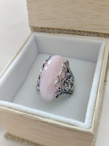 Peruvian Pink Opal Ring Sterling Silver Size 4