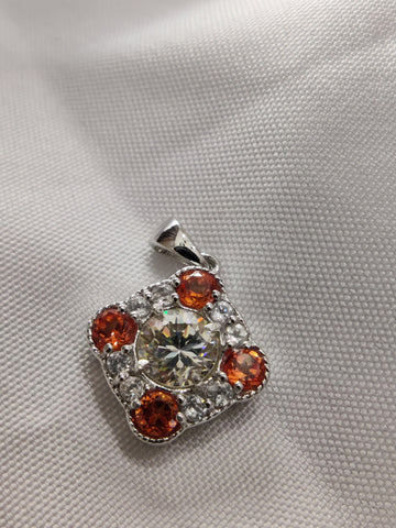 Lab Created Padparadscha Sapphire, White Zircon, and Strontium Titanate Sterling Silver Pendant Necklace
