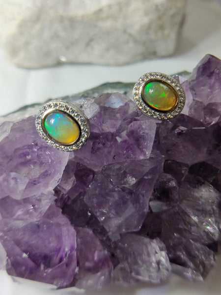 Opal and CZ Sterling Silver Stud Earrings