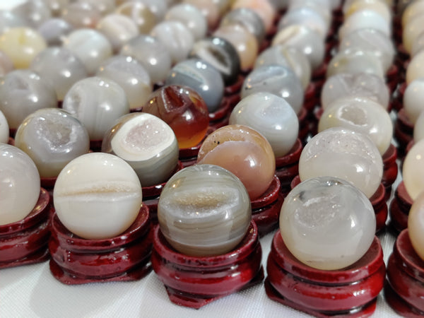 4pc Lots of Mini (15-18mm) Druzy Agate Spheres on Mini Stands