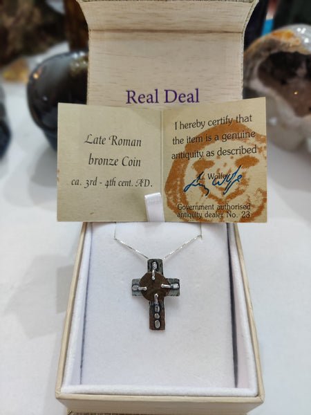 "16.5"" Sterling Silver Cross Ancient Coin Necklace"