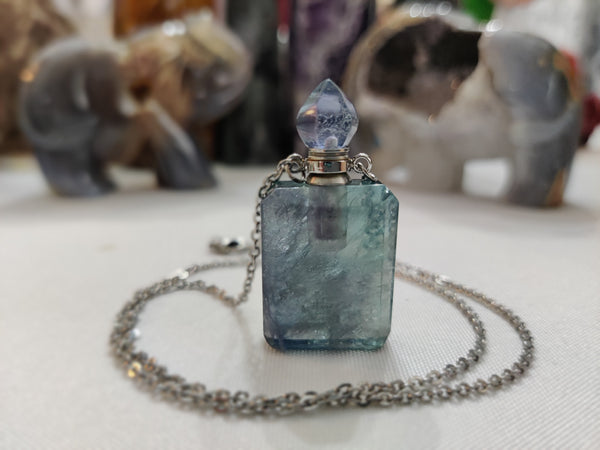 Purple and Green Fluirite Perfume Bottle Necklace