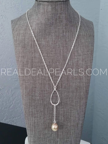 Crossroads | Y Necklace with Cultured Ripple Pearl