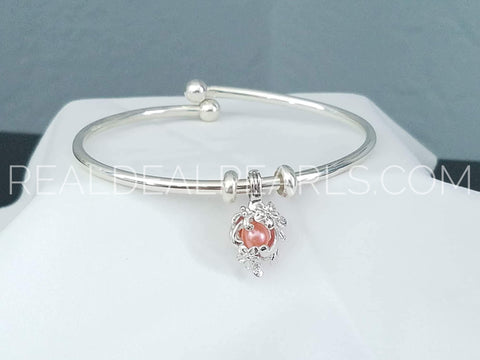 Balance - Sterling Silver Charm Bracelet with Sterling Cage and Oyster Opening Made in Italy