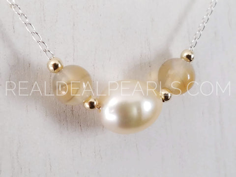 14K White Gold Floating Cultured South Sea and Rutilated Agate Necklace