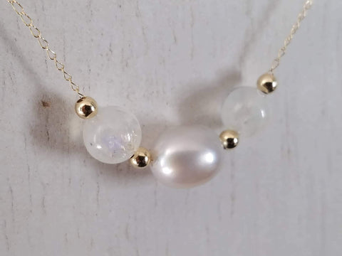 14K Yellow Gold Floating Cultured South Sea and Moonstone Necklace
