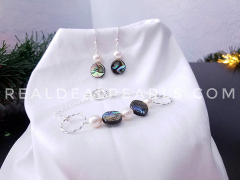 Abalone and Akoya Set - Earrings and Bracelet