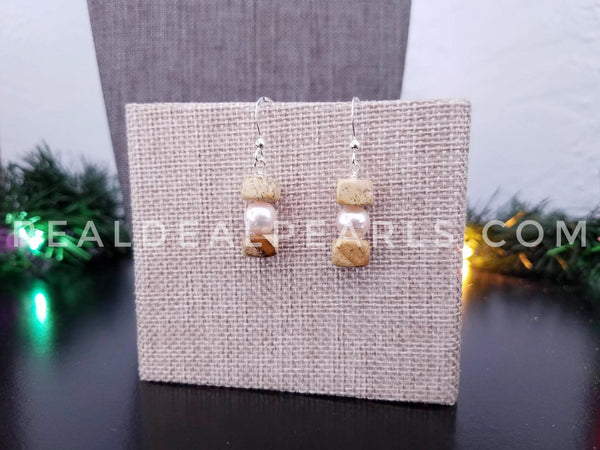 Picture Jasper and Akoya Earrings and Pendant Necklace