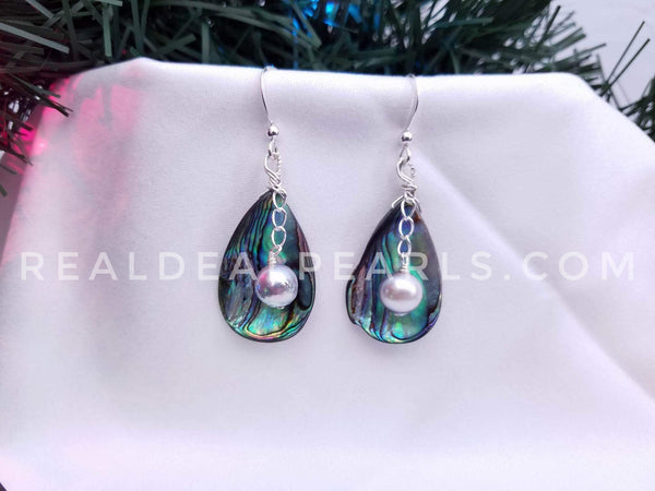 Abalone and Cultured Akoya Earrings