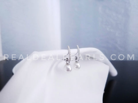 One of a Kind | 14K White Gold Diamond Cultured South Sea Pearl Leverback Earrings