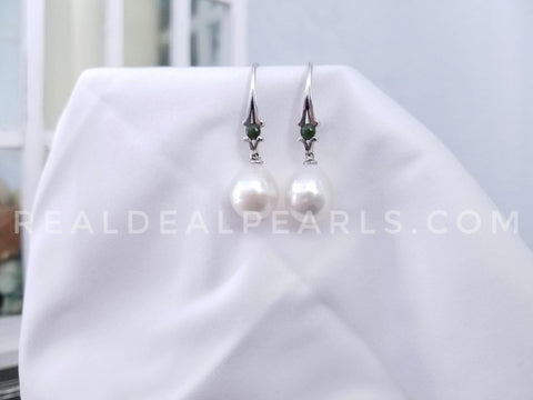 One of a Kind | 15MM Cultured South Sea Pearl and Jade Bishop Earrings